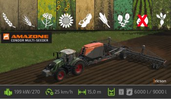 Универсальная сеялка AMAZONE 20 ROW UNIT PLANTER V1 для Farming Simulator 2017