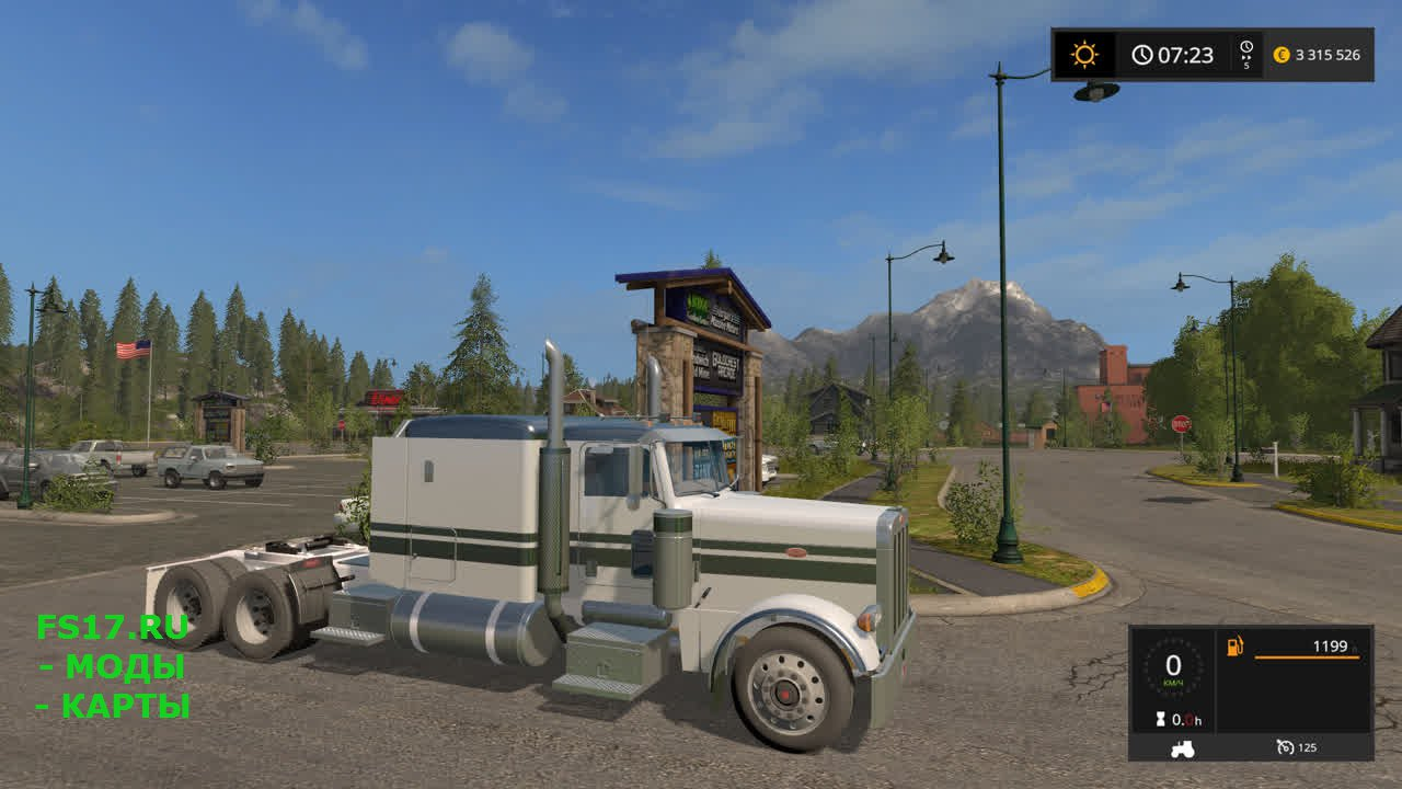 Тягач Peterbilt 379 Flat Top для Farming Simulator 2017