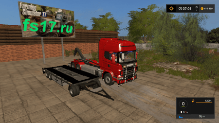 Грузовик SCANIA V8 HKL WITH RAIL TRAILER V1.0.1.0 для FARMING SIMULATOR 2017