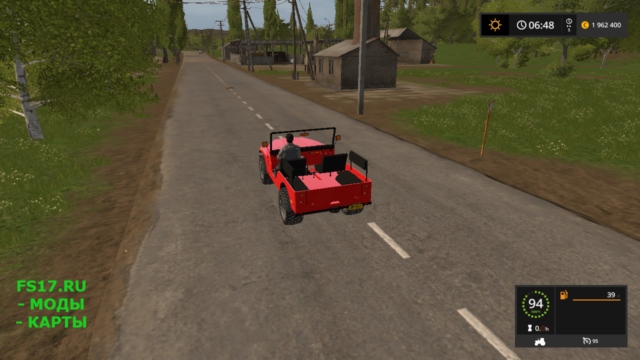 Автомобиль Jeep CJ-5 v 1.0 для Farming Simulator 2017