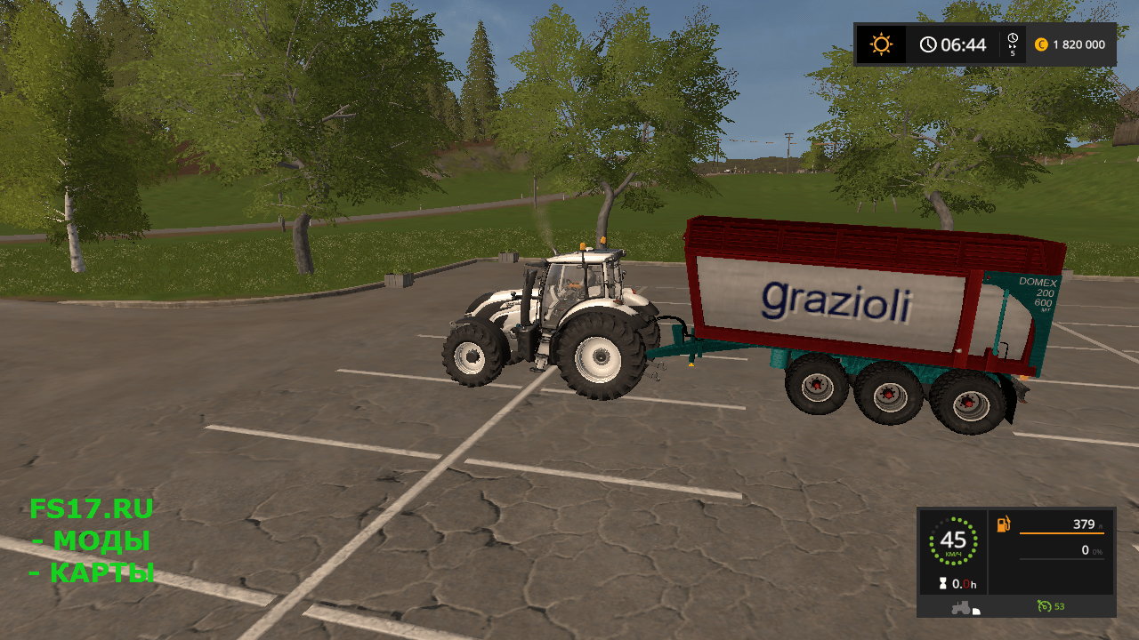 Прицеп GRAZIOLI DOMEX 200/6 V2.1 BETA для Farming Simulator 2017