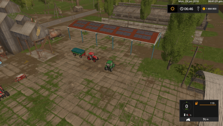 Навес VEHICLE SHELTER WITH SOLAR SYSTEM V1.0 для Farming Simulator 2017