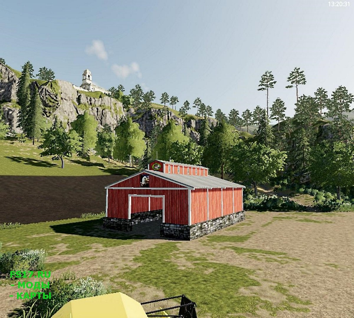 Сарай SMALL OPEN ENDED STORAGE BARN V1.0 для Farming Simulator 2019